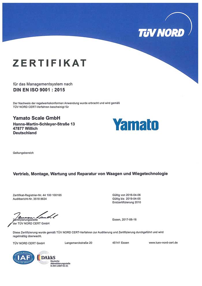 ISO 9001 Certification – YAMATO SCALE