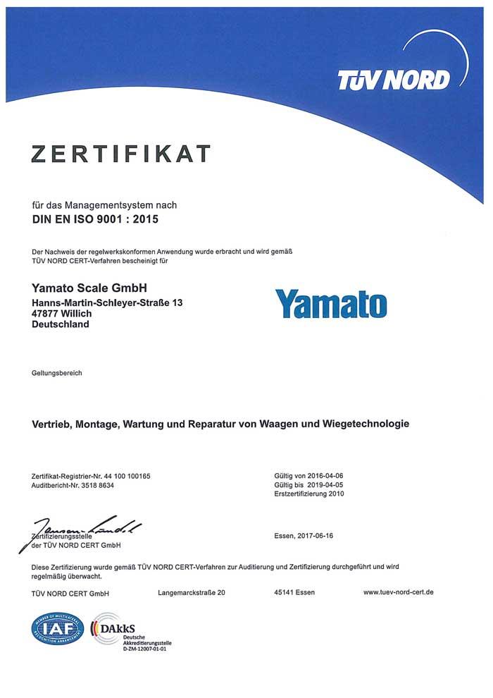 Iso 9001 Certification Yamato Scale